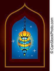 Intricate arabic lamp with moon crescent