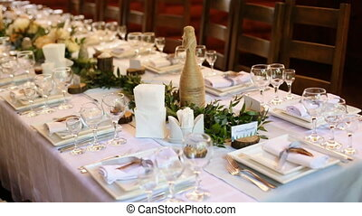 Beautifully organized event - served festive white tables...