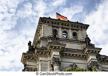 Bottom view of Reichstag building in Berlin