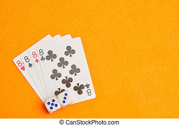 The different suit of the number 8 cards in a deck of cards...
