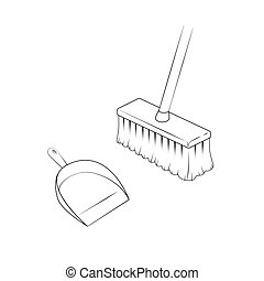 Broom and dustpan. Isolated illustration. Vector.