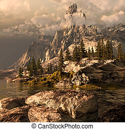 Summer In The Sierra Nevada - Sierra Nevada scene with rock...