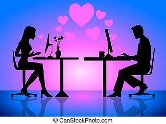 Virtual Love - An illustration of couples online on computer...