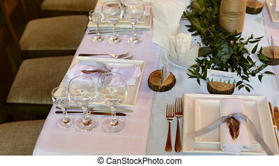 Table setting for a wedding reception or an event