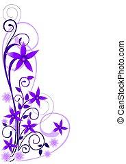 violet, fleurs, Ornement