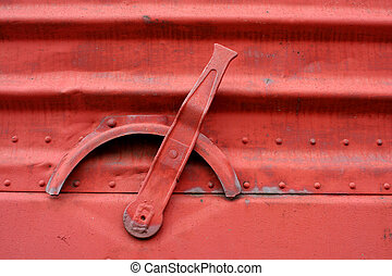 Handle on the side of a train boxcar