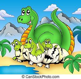 Dinosaurio, mamá, poco, bebes