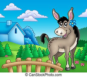 Donkey with flower behind fence - color illustration.