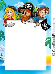 Frame with three cartoon pirates - color illustration