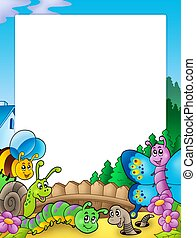 Frame with various garden animals - color illustration.