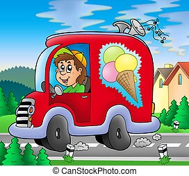 Ice cream man driving red car - color illustration.