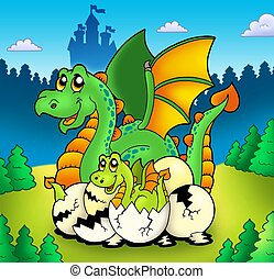 Dragon mom with baby in forest - color illustration