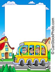 School frame with bus and kids - color illustration