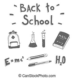 Back to school. Hand drawn doodle set.
