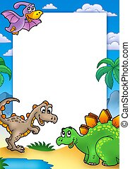 Prehistoric frame with dinosaurs - color illustration