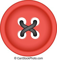 Sewing button in red design with sewing thread on white...