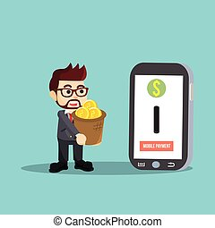 businessman holding money for mobile payments