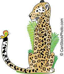Animal Alphabet Jaguar - A Jaguar is sitting and looking at...