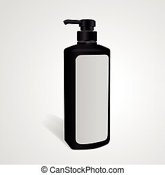 shampoo bottle with blank label isolated on white...