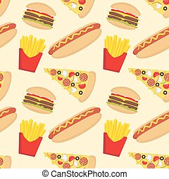 Fast food seamless pattern in flat style.
