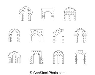 Set of stone archway flat line vector icons - Different...