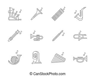 Musical brass instruments flat line vector icons