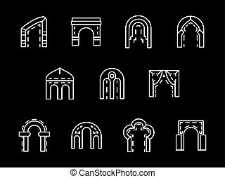 Set of archway styles white line vector icons
