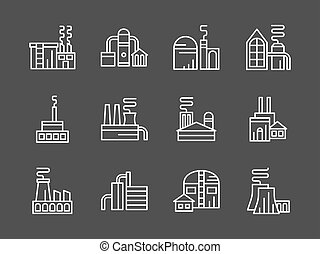 Set of industry plants white line vector icons - Industrial...