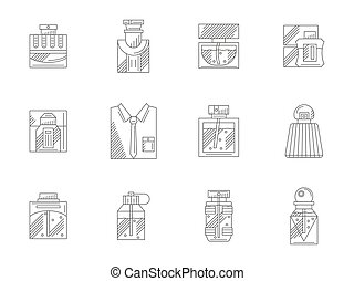 Set of bottles of perfumes flat line vector icons - Mens...