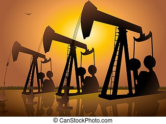 Oil Drilling - Silhouette illustration of oil drilling...