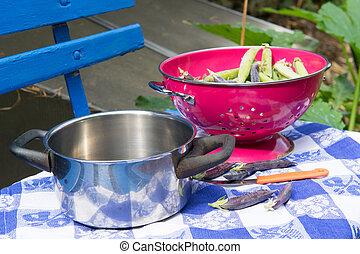 Marrowfat peas and peas in vegetable garden - Marrowfat peas...