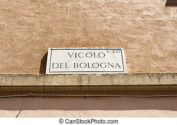 One of the street name sign in Rome