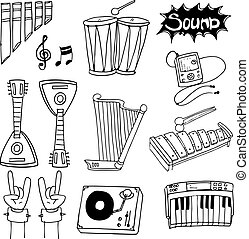 Doodle of tool music collection vector