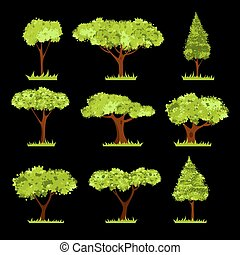 Vector Tree stylized set or collection. - Set of different...