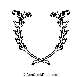 Floral wreath branches set. Decorative elements at engraving style.