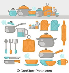 Cooking tools Dishes set. Kitchen equipment, products on the...