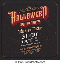 vector,Halloween spooky party invitation card with vintage...