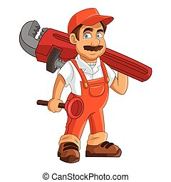 construction or industrial worker holding pipe wrench and...