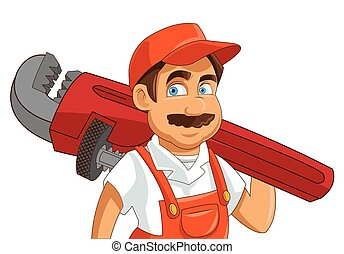 construction or industrial worker holding pipe wrench icon -...