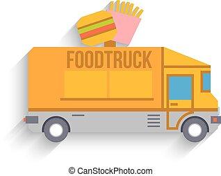 Food Truck, Flat Design, Vector - Colorful Food Truck, Flat...