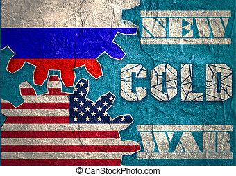 Russia confrontation United States America concept Cold War