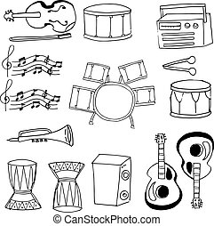 Doodle of musical instrument collection stock
