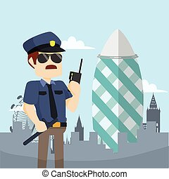 officer guarding gherkin tower