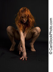 naked redhead woman over black - picture of naked redhead...