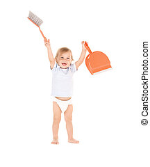 baby boy with with dustpan and brush - picture of baby boy...