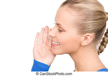 gossip - bright picture of teenage girl whispering gossip