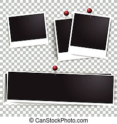 Photo polaroid frames on wall attached with pins.  frame and collection of retro  picture. Vector illustration set