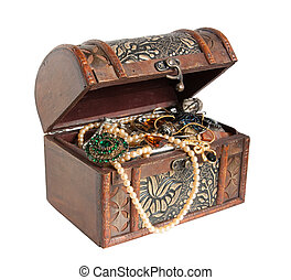 treasure chest - Wooden treasure chest with valuables,...