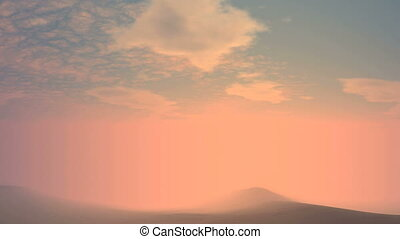 Sunrise From Fog - Thick pink glowing mist-shrouded...
