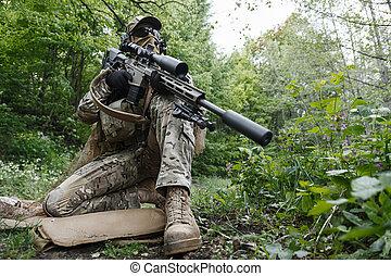 verde, boinas, francotirador